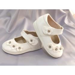 Ballerines cérémonie bébé fille blanc strass