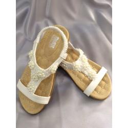 Sandales fille blanche dentelles perles du 30 au 35
