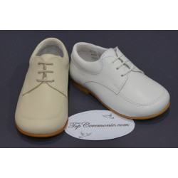 Chaussures cérémonie garçon cuir blanc ou beige du 17 au 27
