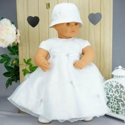 Robe baptême blanche bébé fille  PO 1021MC