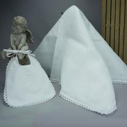 "Bavoir lange blanc de baptême brodé ""Mon baptême"" en blanc"