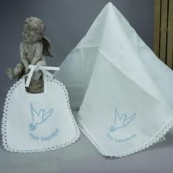 "Bavoir lange blanc de baptême brodé ""Mon baptême"" en bleu"