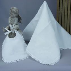 """Bavoir lange blanc de baptême 2 colombes brodé """"Mon baptême"""" en blanc"""
