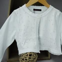 Gilet cérémonie fille blanc avec perles