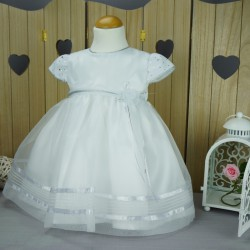 Robe baptême blanche bébé fille PO 1007MC
