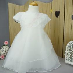 Robe cérémonie baptême blanche bébé fille PO 1037MC