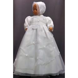 Robe longue de baptême traditionnelle blanche bébé ASSIA