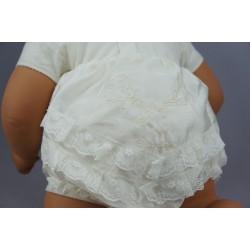 Culotte de baptême dentelle et shantung ivoire