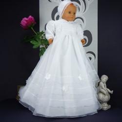 Robe longue de baptême traditionnelle blanche bébé NOEMIE