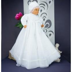 Robe longue de baptême traditionnelle blanche bébé ADELINE