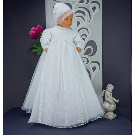 44a2c536efd4e Robe longue traditionnelle de baptême blanche bébé avec bonnet assorti
