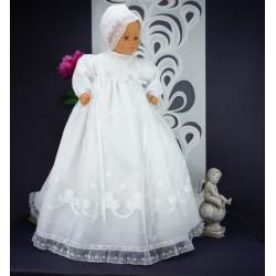 Robe longue de baptême traditionnelle blanche bébé NELY