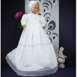 Robe longue de baptême traditionnelle blanche bébé ANGELE