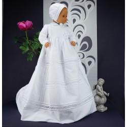Robe longue de baptême traditionnelle blanche bébé ADELIA coton