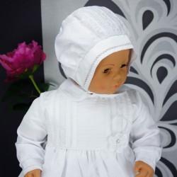 Robe longue de baptême traditionnelle blanche bébé ADELIA effet soie