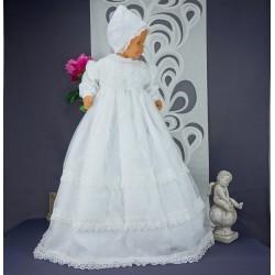 Robe longue de baptême traditionnelle blanche bébé CLARA