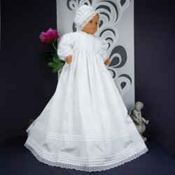 Robe longue de baptême traditionnelle blanche bébé SIDONIE