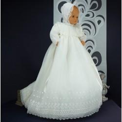 Robe longue de baptême traditionnelle ivoire bébé VALENTINE