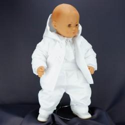 Costume de baptême garçon blanc 3 pièces  JULES 2