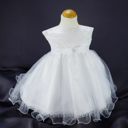Robe cérémonie baptême blanche bébé fille  PO 1032MC