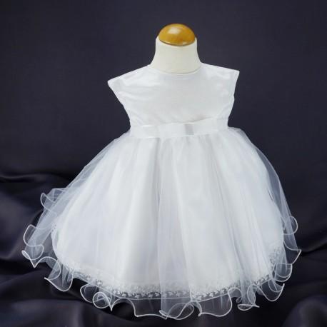 Robe Princesse Ceremonie Bapteme Blanche Bebe Fille Tulle Pailletee