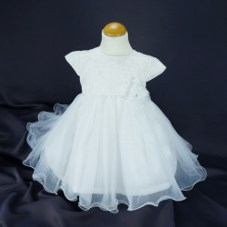 Robe baptême blanche bébé fille PO 1030MC