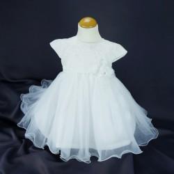 Robe cérémonie baptême blanche bébé fille PO 1030MC
