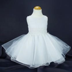 Robe cérémonie fille blanche en tulle pailletée Ref.18368