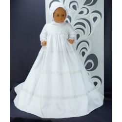 Robe longue de baptême traditionnelle blanche bébé ADRIANA coton