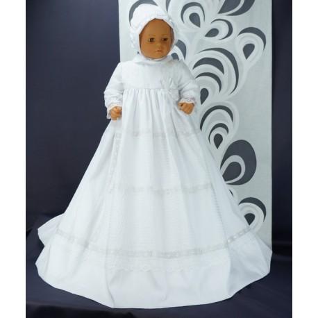 Robe Longue Traditionnelle De Bapteme Blanche Bebe Coton Avec Bonnet