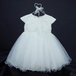 Robe baptême blanche bébé fille en dentelle et tulle PO 1044MC
