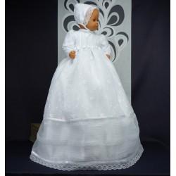 Robe longue de baptême traditionnelle blanche bébé AMALIA