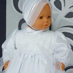 Robe longue de baptême traditionnelle blanche bébé AMBRE