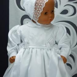 Robe longue de baptême traditionnelle blanche bébé ANAIS