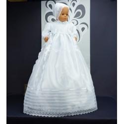 Robe longue de baptême traditionnelle blanche bébé ANGIE