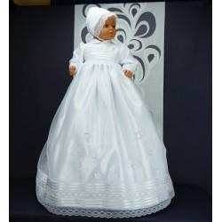 Robe longue de baptême traditionnelle blanche et argent bébé ARIANA