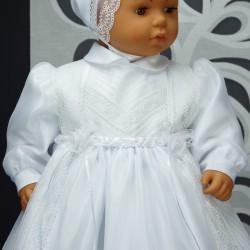 Robe longue de baptême traditionnelle blanche bébé ALYSSIA