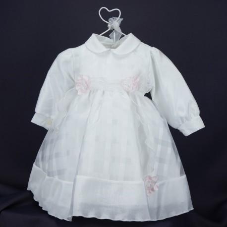 Robe cérémonie baptême blanche bébé fille manches longues RBML13b