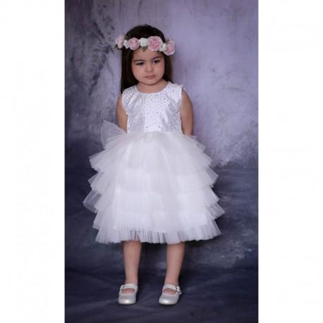 af7c67c6bfd17 Robe Cérémonie baptême bébé froufrou blanche ALINE - Marque Ezda