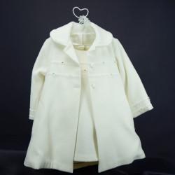 Bel ensemble robe et manteau cérémonie bébé ivoire manches longues RIML 63
