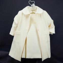 Ensemble robe chemise et manteau cérémonie bébé RIML 64PU